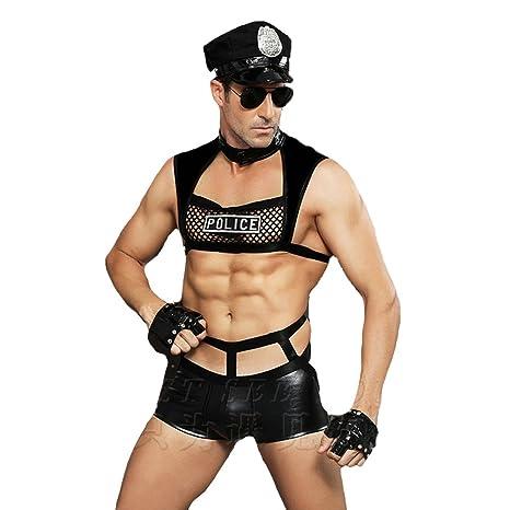MZQ Sexy Hombres Wet Look Cuero Policía Uniforme Clubes Ropa ...