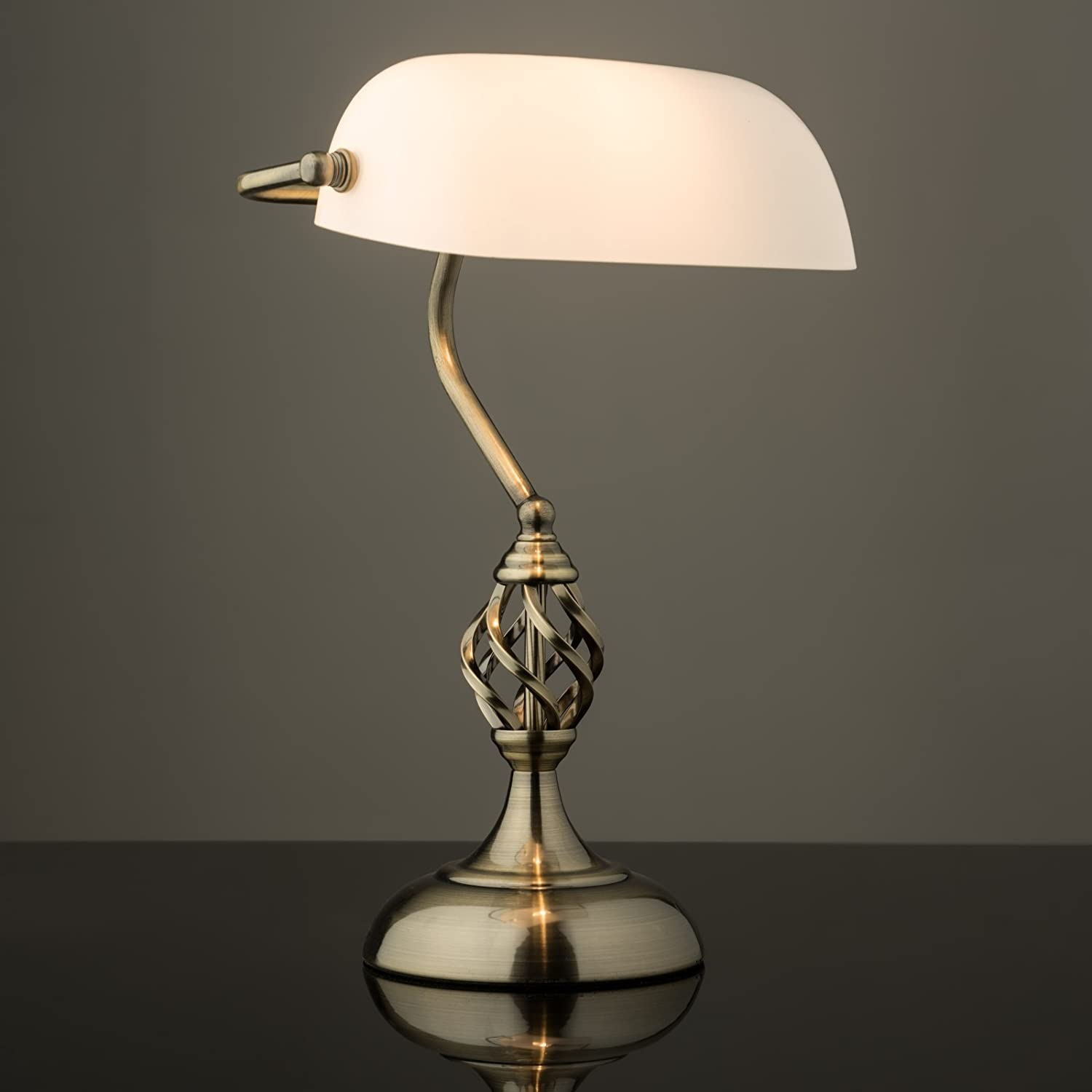 Kingswood Barley Twist Traditional Bankers Lamp - Antique Brass ...