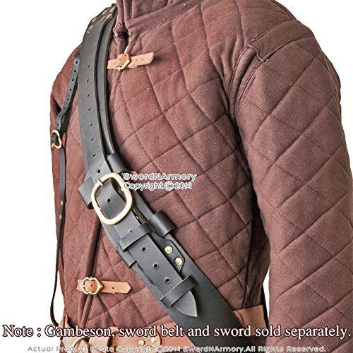 Deluxe Adult Costumes - Black Genuine Leather Long Sword Baldric Claymore Belt Frog