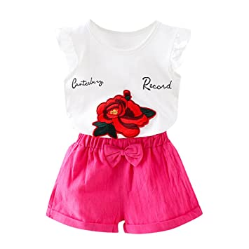b636fbd789d Amazon.com   Simayixx 2PCS Toddler Kids Baby Girl Tops+ Shorts ...