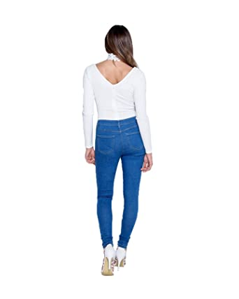 Womens Ladies Blue Floral Embroidered Skinny High Waist Ripped Jeggings Size 6