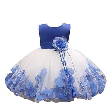 993ce7efa24 ZaH Baby Girl Dress Christening Baptism Gowns Sequined Formal Dress (Blue