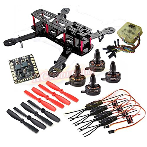 powerday Replacement QAV250 Carbon Quadcopter kit+ X2204S 2300KV Brushless motor+Simonk 12A ESC +CC3D FC +5045 Props+ Matek Power Hub Board