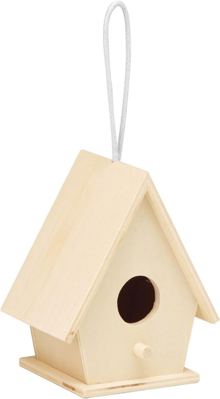 GLOREX 62003332–Pájaro Casita de Madera de álamo, Madera, Naturaleza, 10 x 7,5 x 12,5 cm