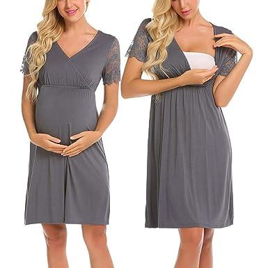 YCGG-Kleid Damen Langarm Umstandskleid mit Stillfunktion Umstandskleid  Festlicher Stretchkleid V-Ausschnitt (,  Amazon.de  Bekleidung cfe287ca1f