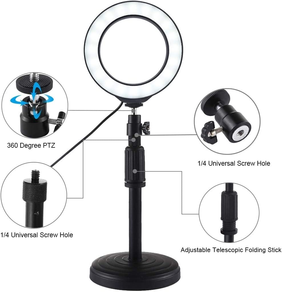 Hyx Round Base Desktop Mount 18cm-28cm Camera Parts Accessories 4.7 inch 12cm 3 Modes USB Dimmable LED Ring Vlogging Video Light Adjustable Height