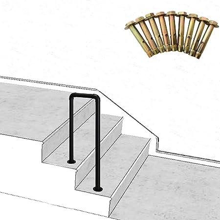 ZzJj - Barandillas Interiores y Exteriores de 2 escalones, barandillas de Escalera de Tubo en U de Hierro Forjado Vintage, con Kit de Montaje de barandillas de jardín o Porche, tamaño Opcional: