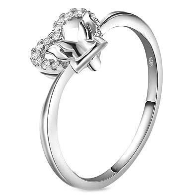 Aienid Damen Ringe Kostenlose Gravur Hochzeit Versilbert Zirkonia