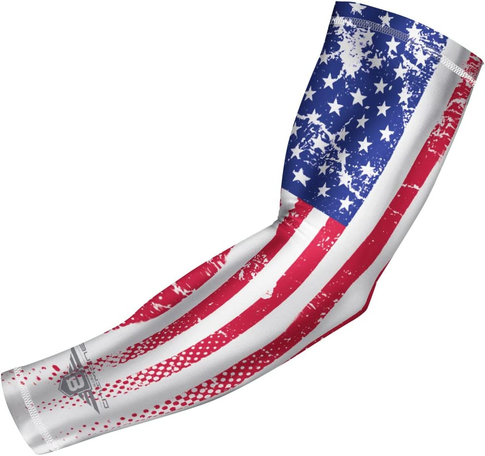 Youth /& Adult Sizes Bucwild Sports USA Mexico Puerto Rico Flag Compression Arm Sleeve Baseball Basketball Football Boys Girls Kids Men /& Women