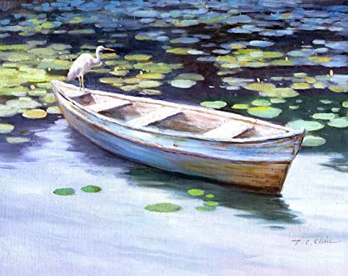 Amazon Com Egret On Boat Art Print Of Watercolor Painting