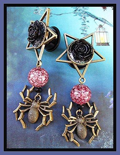 16 00g 5//8 9//16 12 18mm The Spider Eats EAR PLUGS dangle stretched pentagram evil gauges 2g 11//16 aka 6 7//16 10 1//2 14 0g 8