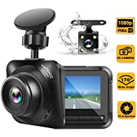 Dash Cam Car Camera Recorder FHD 1080P Front and Rear Cameras,Driving Loop Recording,2.2 Inch LCD Screen 170°Wide Angle, WDR,Night Vision, G-Sensor, Motion Detection, Parking Monitor