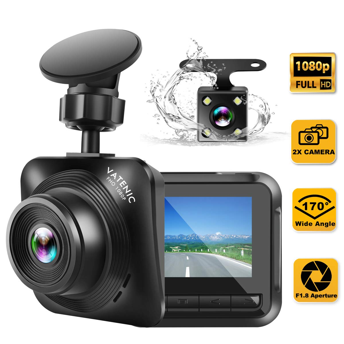 Dash Cam Car Camera Recorder FHD 1080P Front and Rear Cameras,Driving Loop Recording,2.2 Inch LCD Screen 170°Wide Angle, WDR,Night Vision, G-Sensor, Motion Detection, Parking Monitor by VATENIC
