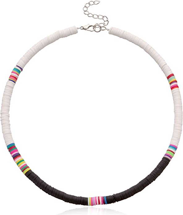 2 PCS Surfer Choker Necklace and Anklet Set for Women Boho Jewelry Colorful African Heishi Vinyl Disc Beads Necklaces Handmade Summer Collar Beach Necklace for Women Girls