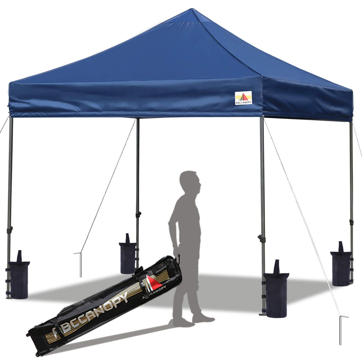 ABCCANOPY Pop up Canopy Tent Commercial Instant Shelter with Wheeled Carry Bag, Bonus 4 Canopy Sand Bags, 10x10 FT Navy Blue