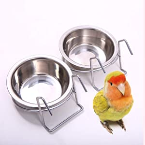 QBLEEV Birdcage Bird Feeder Birds Bowls for Cage Parakeet Food Dish Parrot Feeders Water Bowls Stainless Steel Dishes Coop Cups with Wire Hook for Small Animals Finches Lovebirds[1 Pack]