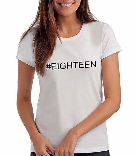 Da Londra #Eighteen - Maglietta Hashtag per Ragazze, Regalo di Compleanno per 18 Anni
