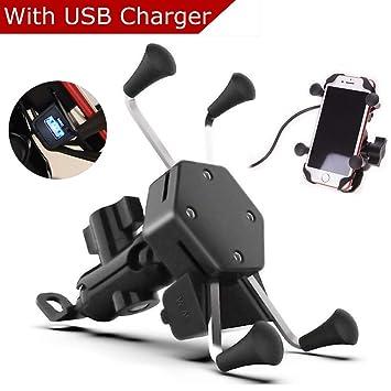 Evermotor Universal Anti Vibración Soporte Móvil Moto de la Rotación de 360 ° del Cargador del USB iPhone Samsung GPS ATV Scooter Moped