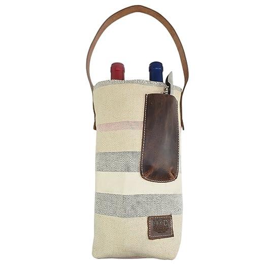 Bolsa de lona artesanal doble para el vino con asa de cuero ...