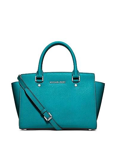 2ce5c759a10c46 Michael Kors Tile Blue Silver Medium Selma Leather Satchel Bag 30S3SLMS2L:  Handbags: Amazon.com