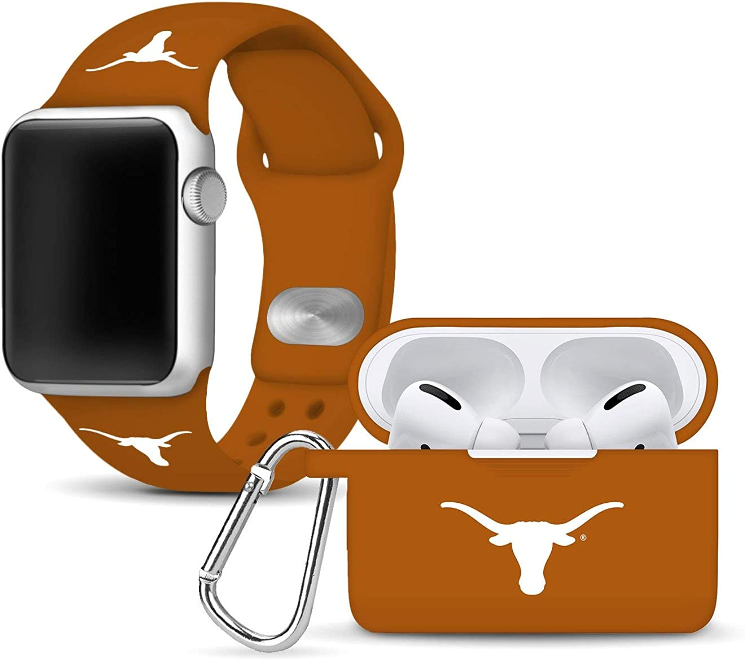 Texas Longhorns Silicone Watch Band and Case Cover Combo Package Compatible with Apple Watch and AirPods Pro Battery Case