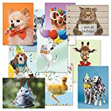 Kids Photo Birthday Greeting Cards Value Pack - Set of 20 (10 designs), Large 5'' x 7'', Happy Birthday Cards with Sentiments Inside