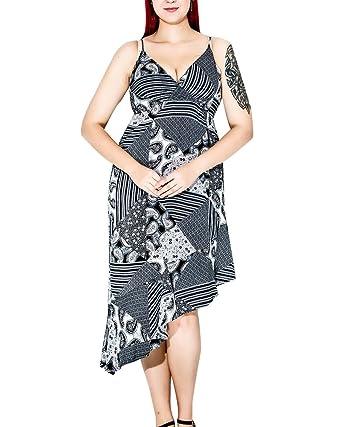 Damen Unregelmäßig Chiffon Elegante Midi Kleid Strandkleider ...