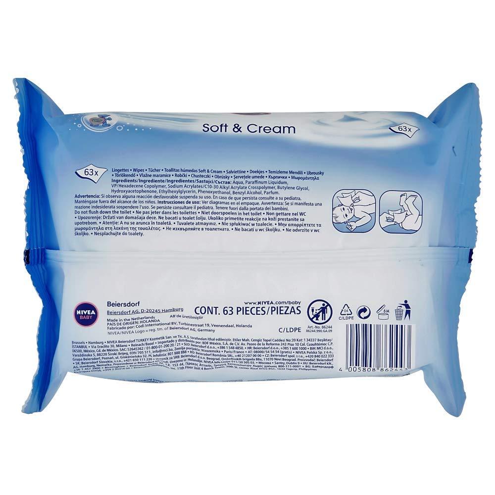 1er Pack in wiederverschlie/ßbarem Soft-Pack 1 x 63 St/ück Nivea Baby Soft /& Cream Feuchtt/ücher