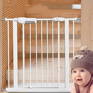 JHUEN Puertas para bebés Puerta para escaleras Puerta Presión Montado Extra Ancho Perro/Gato/Mascota Puerta 75-204cm Ancho Metal Blanco (Tamaño: 75-84cm): Amazon.es: Hogar