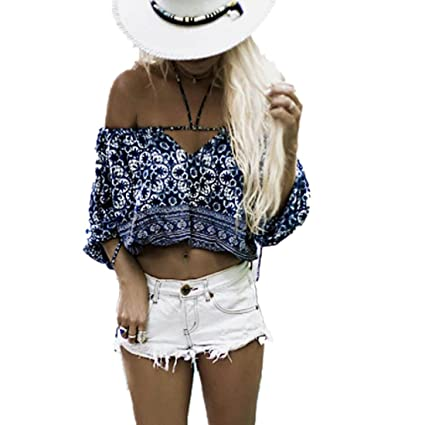 LILICAT® Mujeres Sólidas Sexy Off Hombro Camisetas, Moda Blusa Corta Boho Floral Halter Blusa