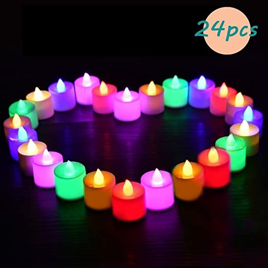 Greatever 24 Luces de Colores Led en Forma de Vela , Perfectas para Decoración, San Valentín, Cumpleaños , Fiestas , Navidad