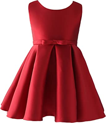 f4dbcb60a7 AugusWu Short Burgundy Satin Flower girl Dresses: Amazon.co.uk: Clothing