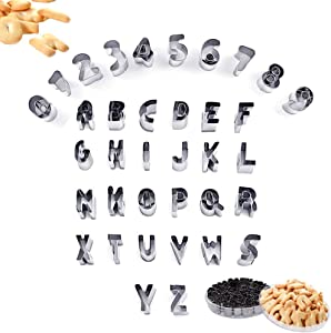 SITAKE 37 Pcs Mini Alphabet and Number Cookie Cutters Set With Storage Case, Stainless Steel Small Mold Tools for Fondant Biscuit, Cake, Fruit, Vegetables, Dough