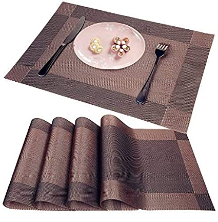 Placemats Heat-Resistant Placemat Stain Resistant Anti-Skid Washable PVC Table Mats Woven Vinyl Placemat sea Blue, Set of 8 WANGCHAO Placemat