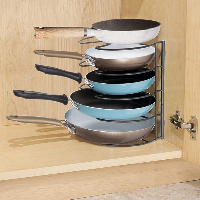 mDesign Organizador de sartenes - Elegantes accesorios para muebles de cocina - Estanterías para cocina para organizar sartenes y tapas de ollas - gris: ...