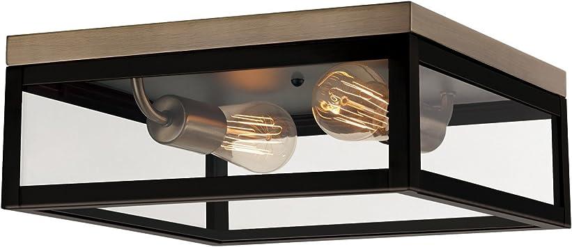 Verona 2 Light Flush Mount Dark Bronze Antique Brass Accents 5 Clear Glass Panes 65919 Amazon Com
