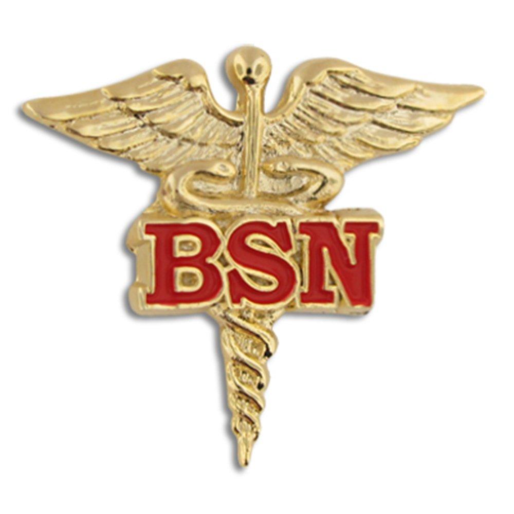 PinMart Bachelor of Science Nursing Red BSN Caduceus Lapel Pin