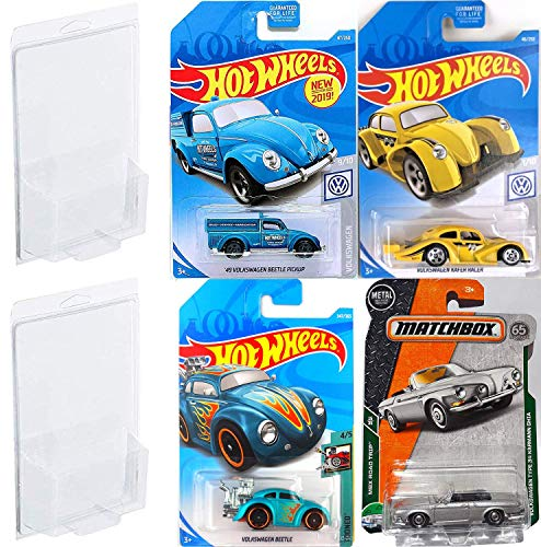 Moon VW Eyes Pack Cars Racer Volkswagen Kafer Series Hot Wheels Yellow / Beetle Tooned Flames & Beetle Pickup Blue / Matchbox Type 34 Karmann GHIA 4 Bundle in Protective Cases