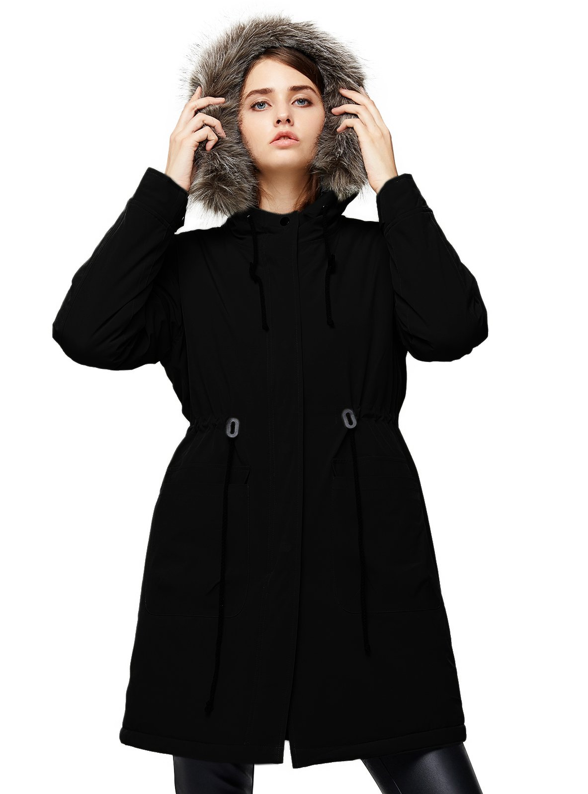 Escalier Women`s Winter Parka Coat Faux Fur Hooded Jacket Fleece Lined Parkas Black 3XL