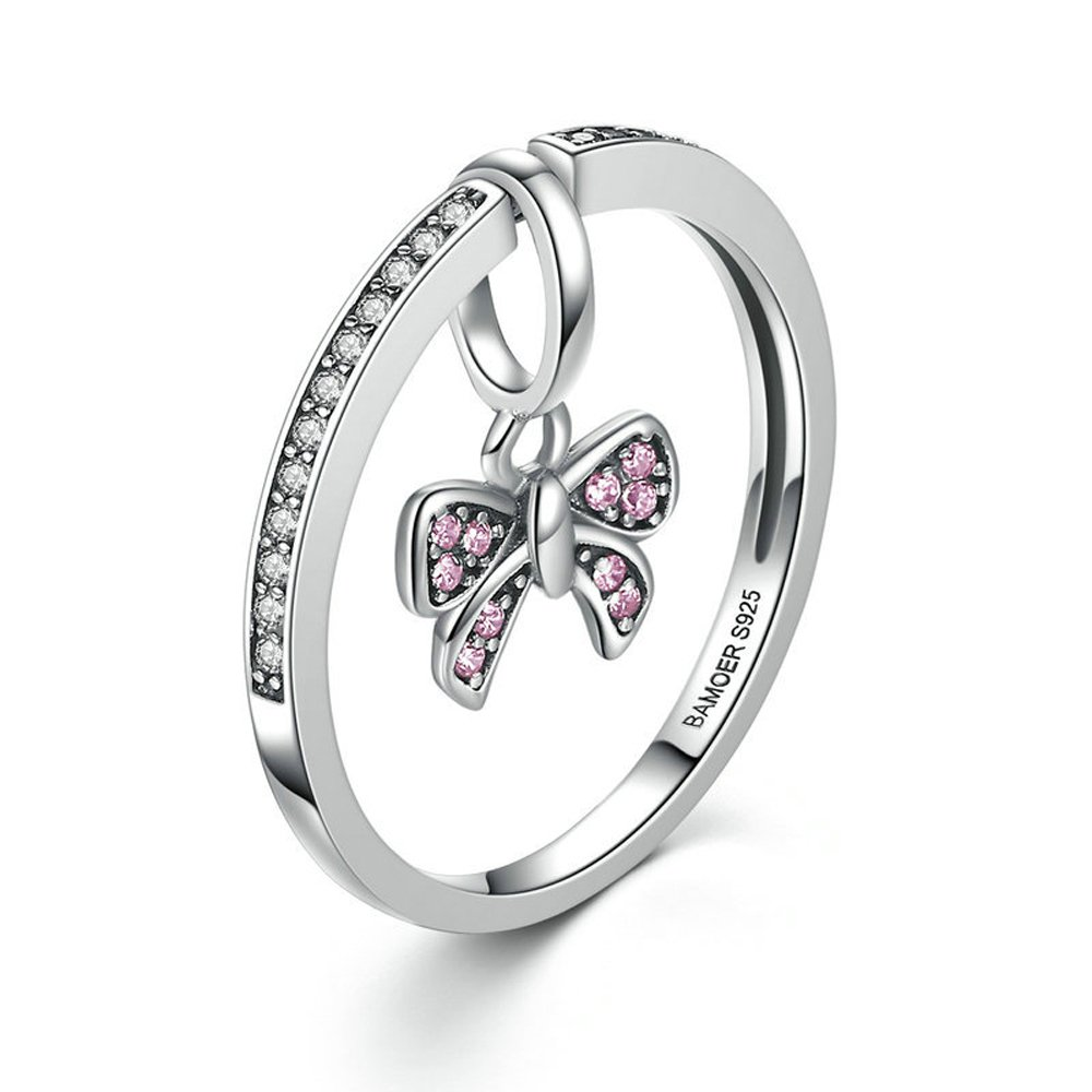 Amazon Ff Ring Sterling Silver Pink Bow Knot Finger Rings Fine Jewelry For Women Wedding: Pink Bow Wedding Ring At Reisefeber.org