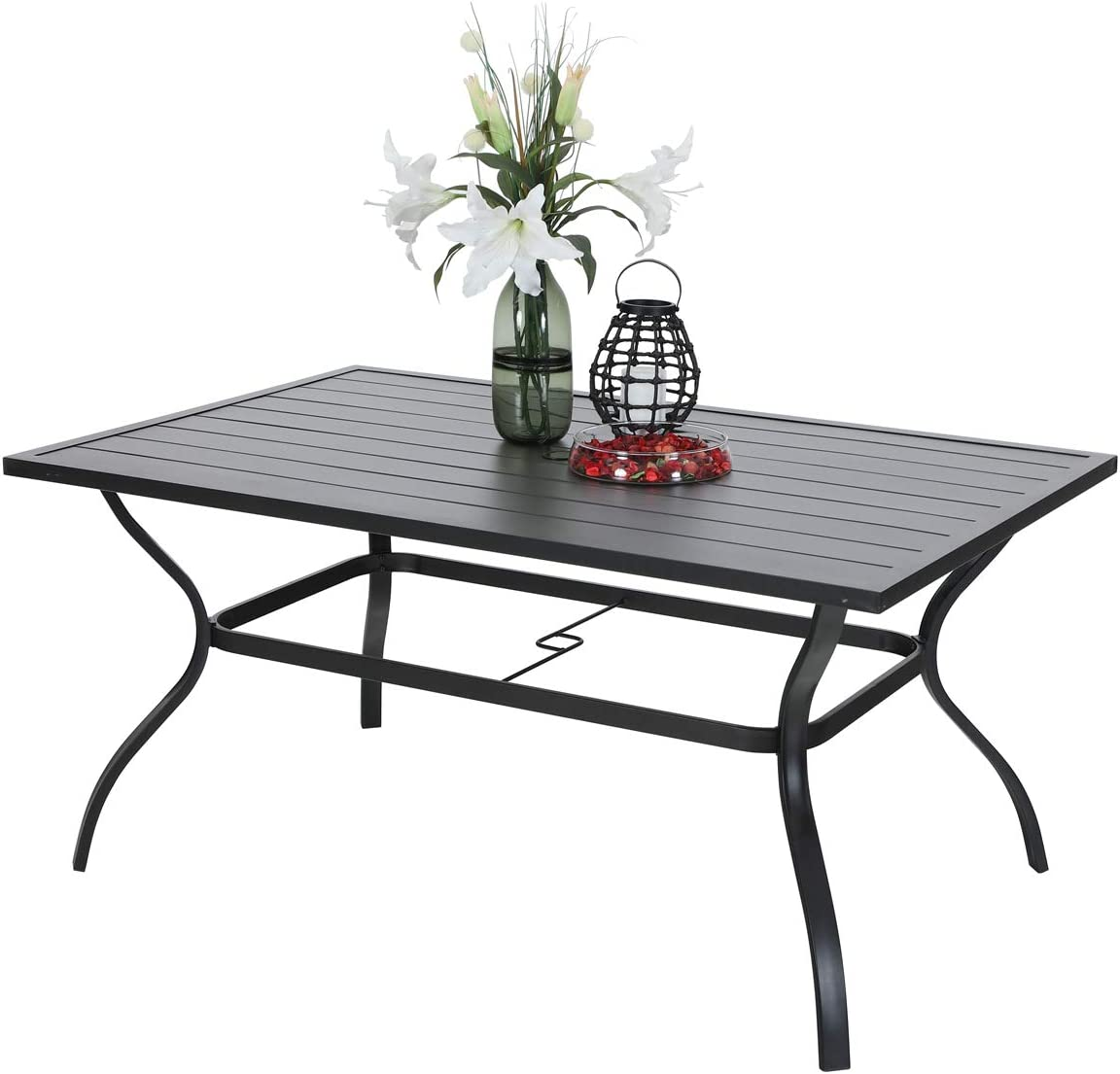 Amazon Com Phi Villa Outdoor Patio 60 X38 Rectangular Dining Table For 6 Person With Umbrella Hole Black Kitchen Dining