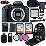 Canon EOS Rebel T7i DSLR Camera (Body Only) + LED Light + Microphone + Video Accessory Bundle