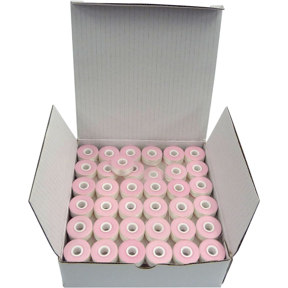 Small SuperB Pre-Wound Bobbins White Style L Box of 144 Polyester Pre-Wound Bobbins Thread