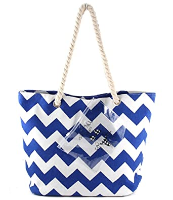 Amazon.com: Zig Zag Navy Chevron Beach Tote Rope Handles Bag (Navy ...