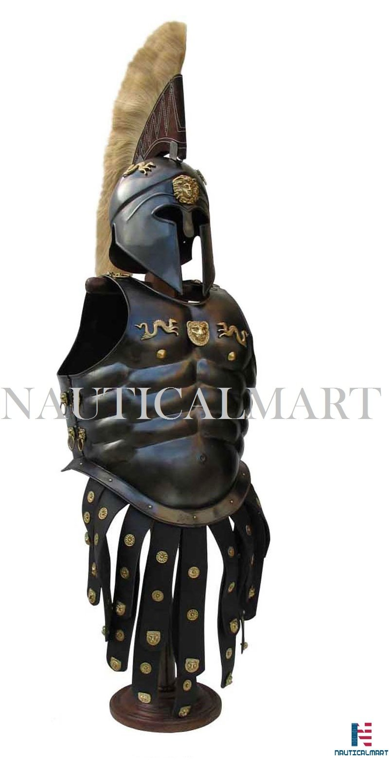 NAUTICALMART Greek Royal Muscle Armor Cuirass With corinthian Helmet Halloween Costume