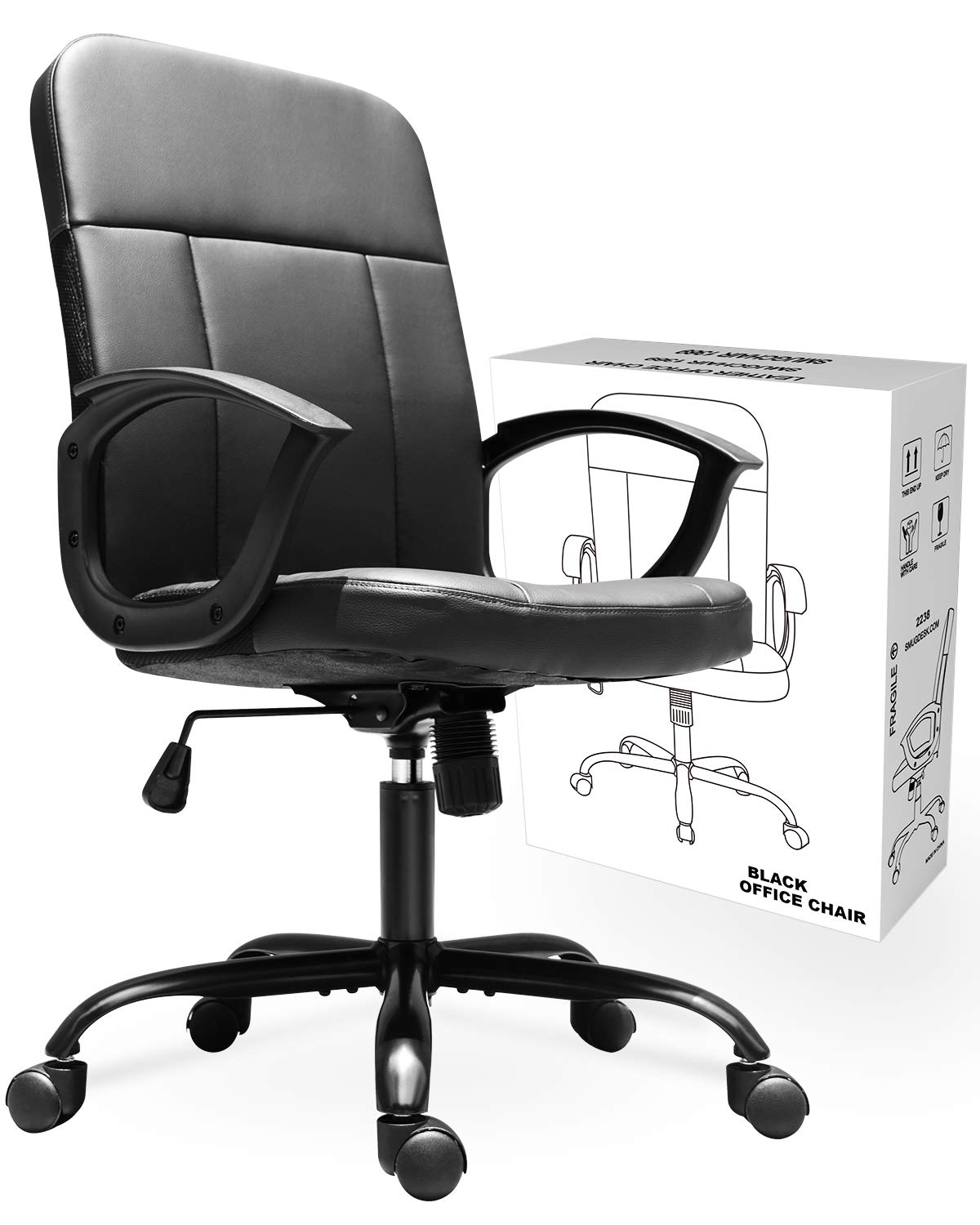 Office Chair, Mid Back Premium Bonded Leather Office Computer Swivel Desk Task Chair, Ergonomic Executive Chair with Lumbar Padding and Armrests by SMUGCHAIR
