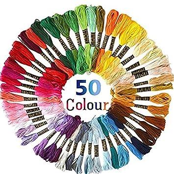 Hilos de Bordar, 50 madejas multicolor de poliéster para bordados de punto de cruz,Una variedad de colores para satisfacer diferentes necesidades: ...