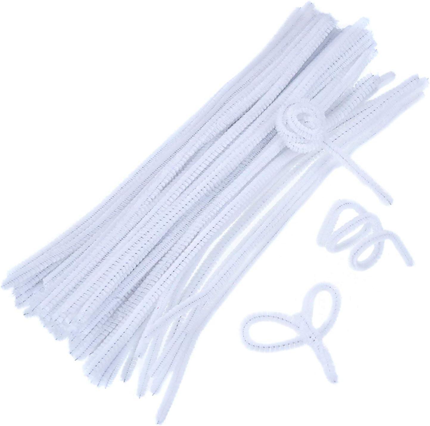 IVYRISE 200 Pieces White Chenille Stems Valentine Day Handmade Decoration for DIY Art Creative Crafts
