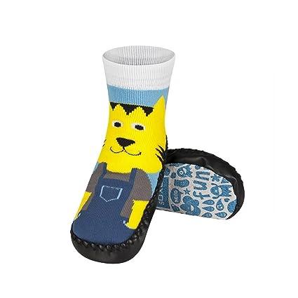 jaune-lion – Pantuflas Calcetines Niños suela antideslizante piel – bbkdom- amarillo amarillo Talla