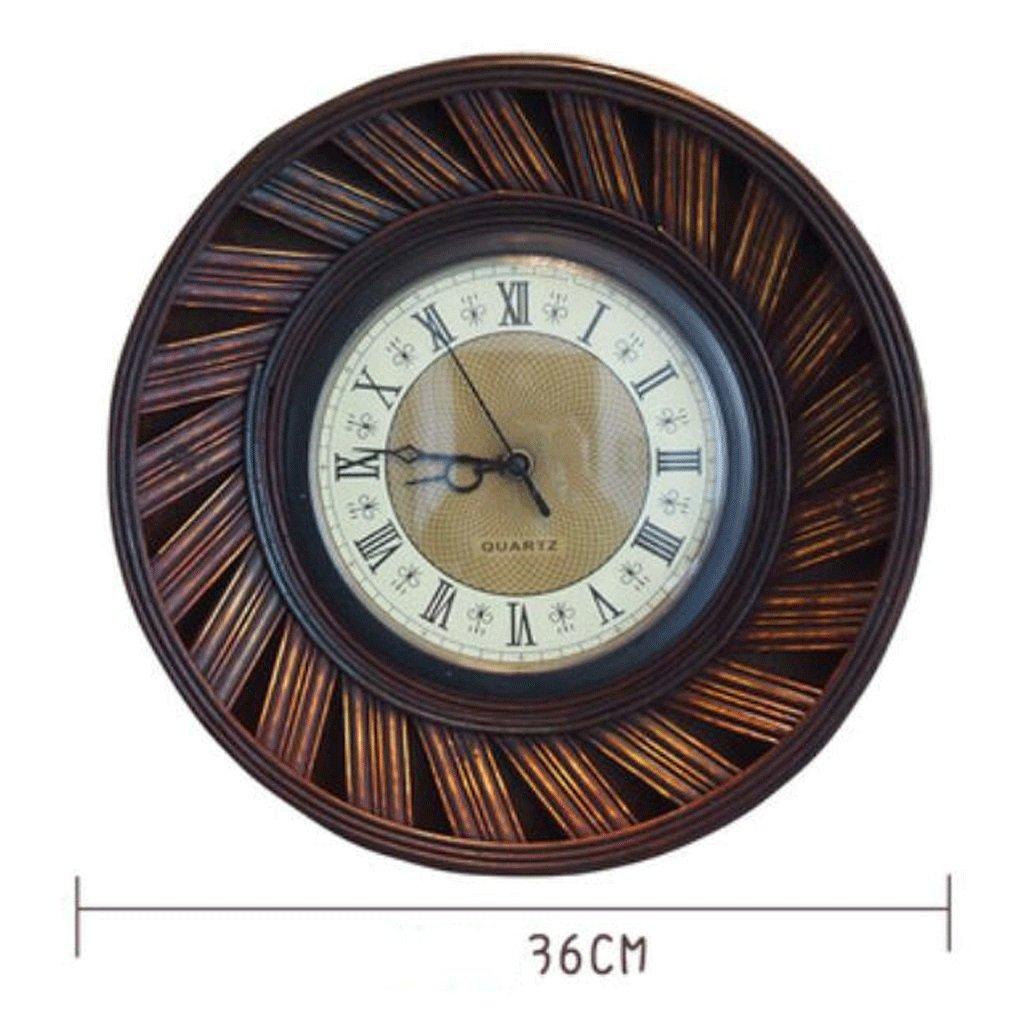 TXXM アメリカのレトロ壁時計庭ホームベッドルーム竹時計ヨーロッパのファッションレストランの時計居間アート吊りテーブル (色 : B) B07FB5XRGL B B